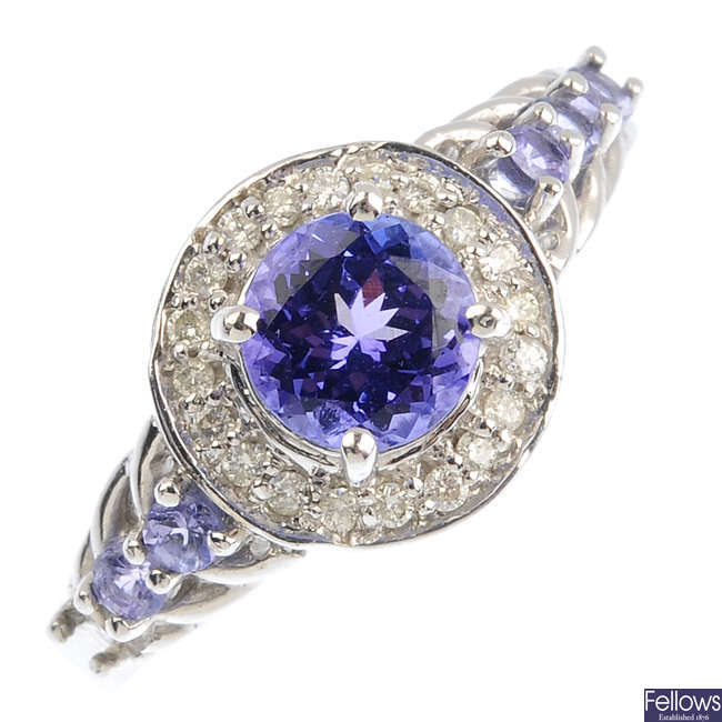 A 9ct gold tanzanite and diamond ring.