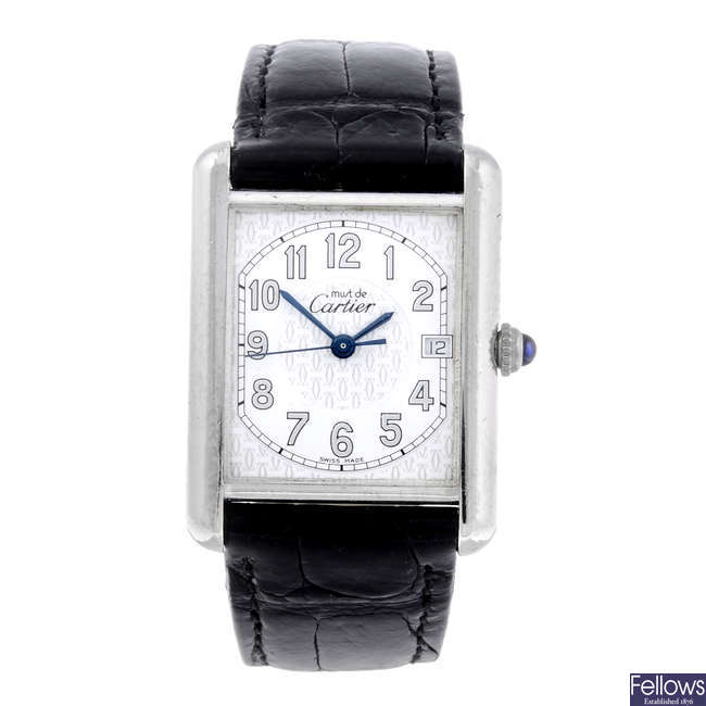 CARTIER - a silver Must De Cartier Tank wrist watch.