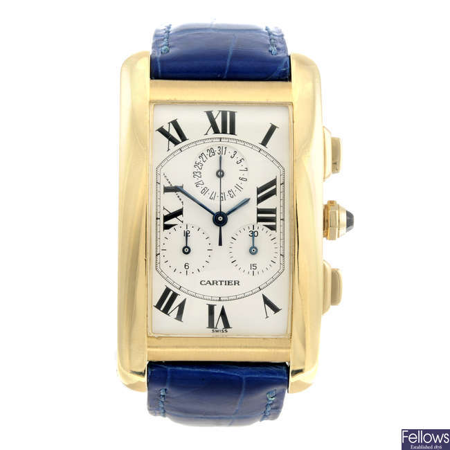 CARTIER - an 18ct yellow gold Tank Americaine chronograph wrist watch.