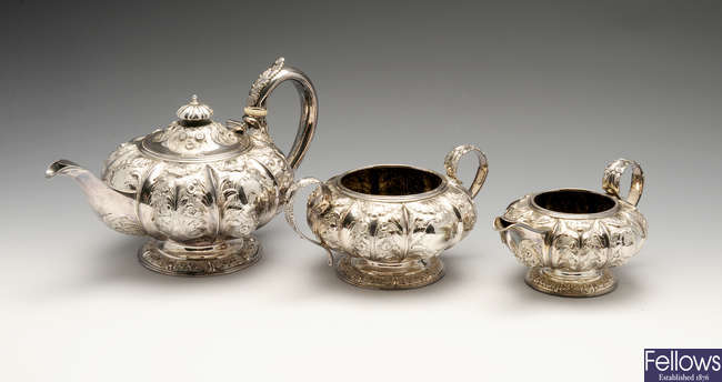 A George IV silver three piece tea service.