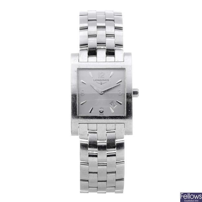 LONGINES - a gentleman's stainless steel bracelet watch with half hunter pocket watch.
