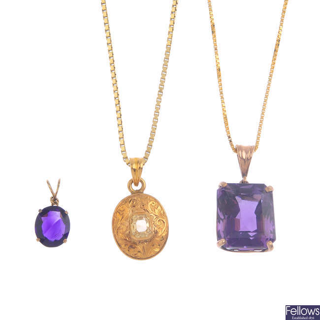 Three gem-set pendants, with chains.