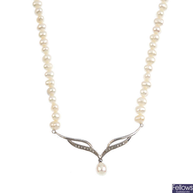 Four cultured pearl and diamond single-strand necklaces.