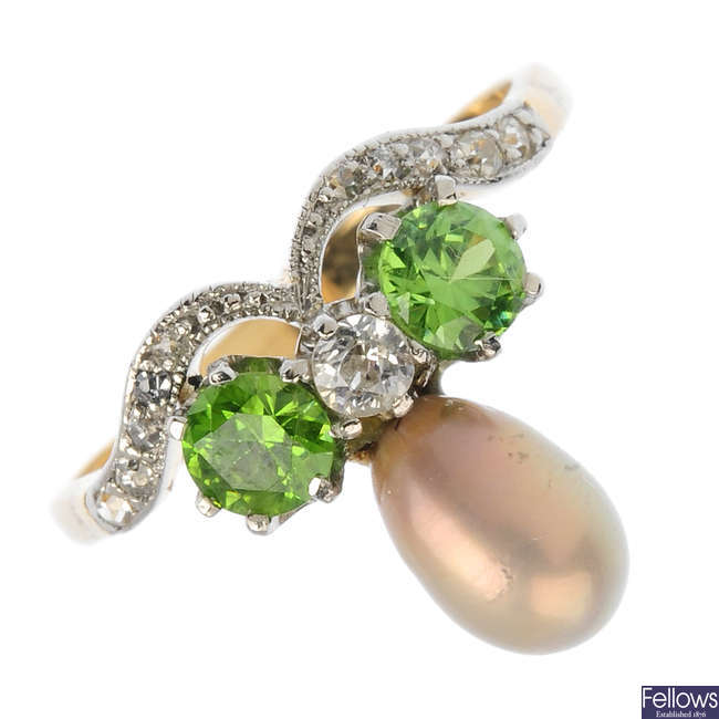 A pearl, demantoid garnet and diamond ring.