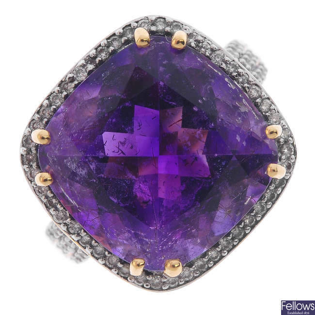 An 18ct gold amethyst and diamond cocktail ring.