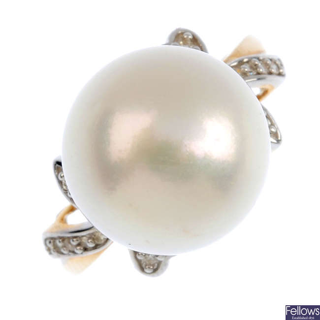 A 9ct gold cultured pearl and diamond ring.