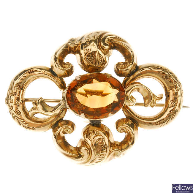 A late Victorian citrine brooch.