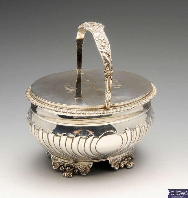 A late George III silver double sided tea caddy.