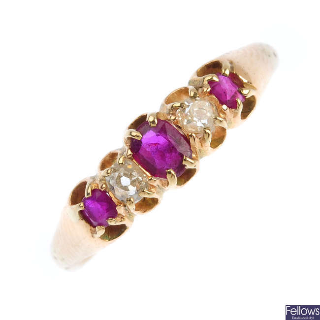 An early 20th century gold, ruby and diamond five-stone ring.