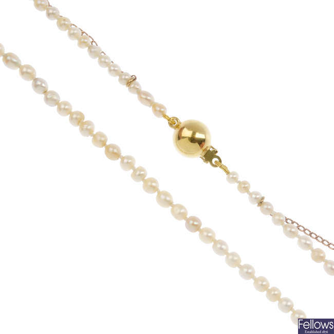 A seed pearl single-strand necklace.