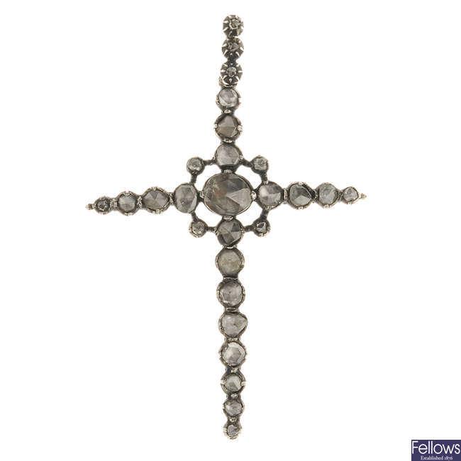 A late Georgian rose-cut diamond cross.
