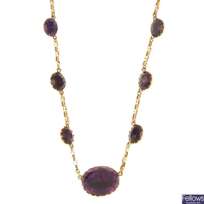 A mid to late Victorian foil back amethyst necklace.