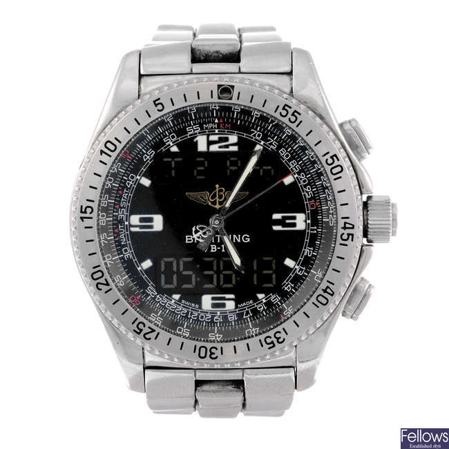 BREITLING - a gentleman's stainless steel Professional B1 chronograph bracelet watch.