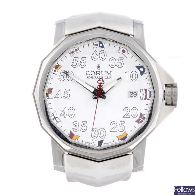 CORUM - a gentleman's stainless steel Admiral's Cup wrist watch.