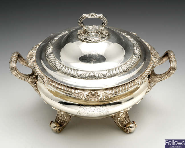 An impressive George IV silver twin-handled tureen & cover.