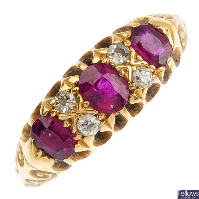 An Edwardian 18ct gold ruby and diamond ring.
