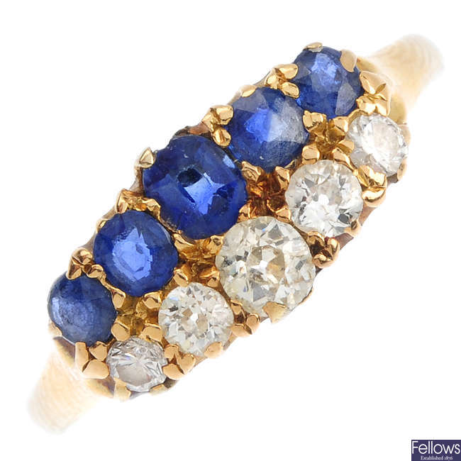 A late Victorian gold, sapphire and diamond two-row ring.