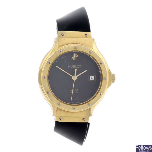 HUBLOT - a lady's 18ct yellow gold MDM wrist watch.
