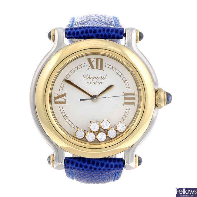 CHOPARD - a lady's bi-metal Happy Sport wrist watch.