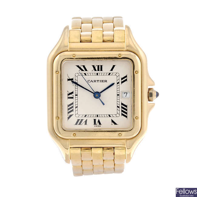 CARTIER - a 18ct yellow gold Panthere bracelet watch.
