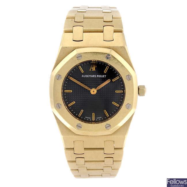 AUDEMARS PIGUET - a lady's 18ct yellow gold Royal Oak bracelet watch.