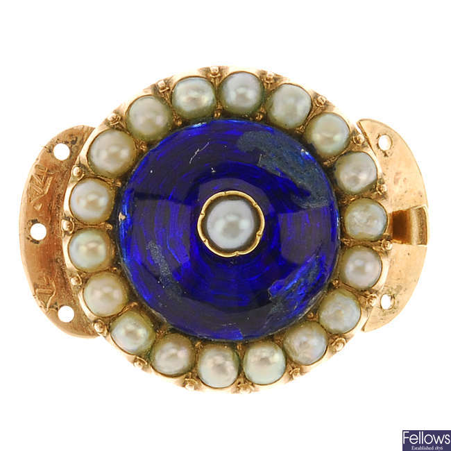 A late 19th century gold split pearl and enamel clasp.