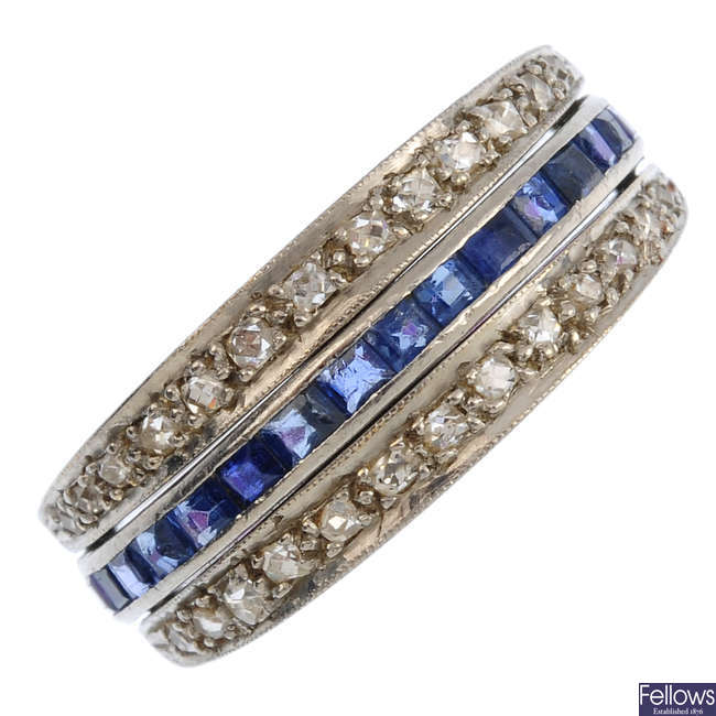 A diamond, sapphire and ruby full eternity flip ring.