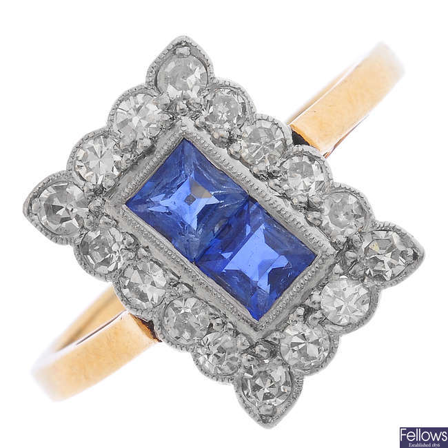 An early 20th century 18ct gold sapphire and diamond ring.