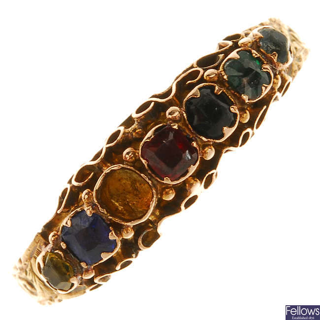 A late Victorian 15ct gold gem-set ring.