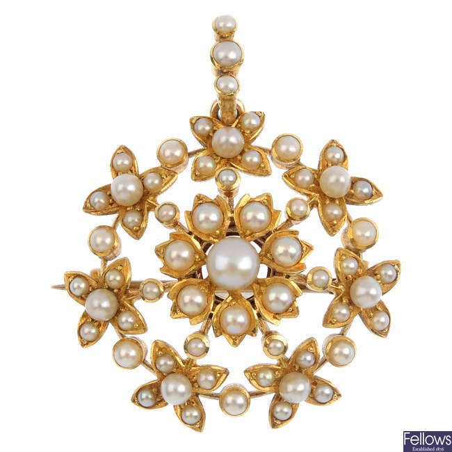 An Edwardian gold seed and split pearl pendant.