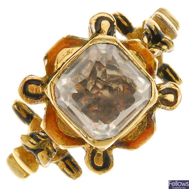 A rock crystal and enamel ring.