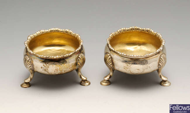 A pair of George III silver open salts.