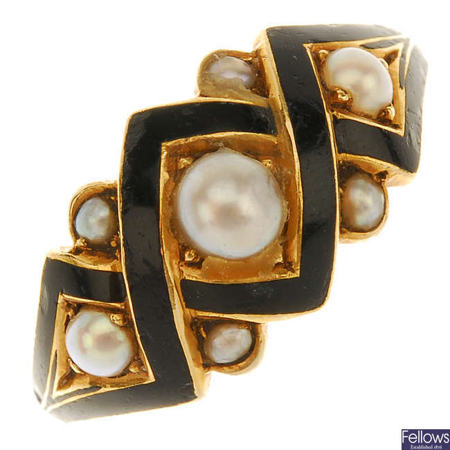 A late Victorian gold pearl and enamel memorial ring.