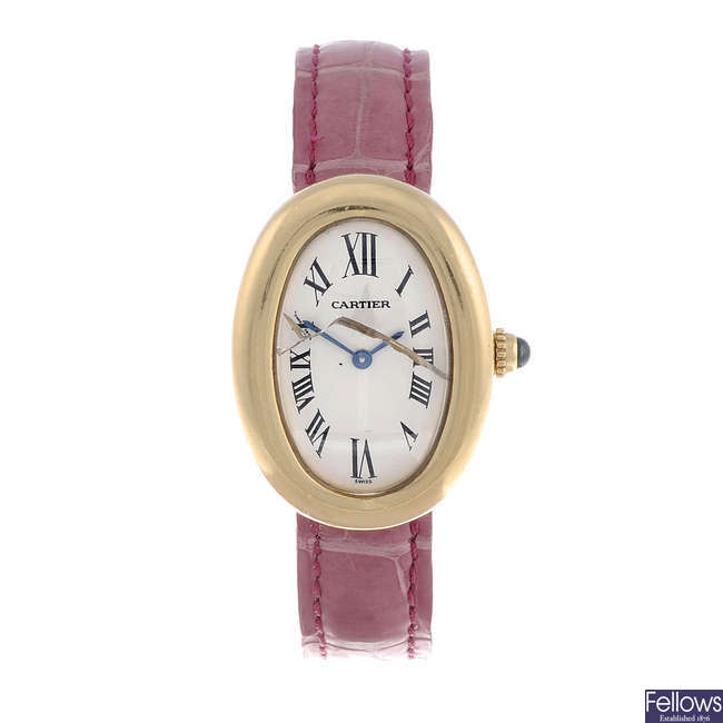 CARTIER - a lady's 18ct yellow gold Baignoire wrist watch.