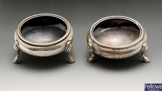 A late Victorian pair of silver open salts.