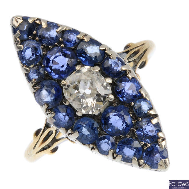 A late Victorian gold and silver diamond and sapphire ring.
