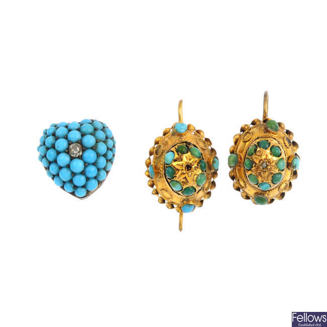 A pair of Victorian 15ct gold turquoise earrings, and a diamond and paste slider.