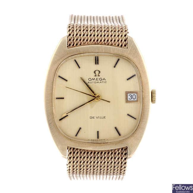 OMEGA - a gentleman's 9ct yellow gold De Ville bracelet watch.