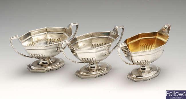 A set of three George III silver pedestal open salts.