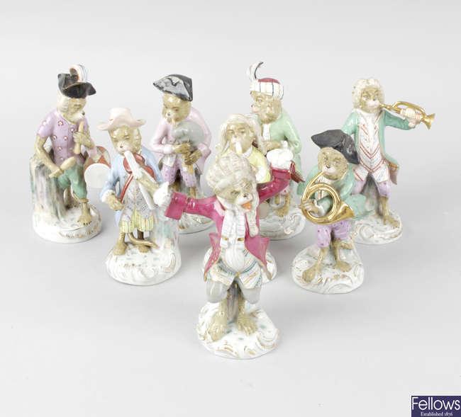 An eight piece German porcelain Monkey Band.