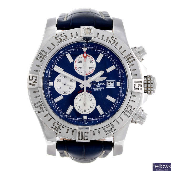 BREITLING - a gentleman's stainless steel Aeromarine Super Avenger II chronograph wrist watch.