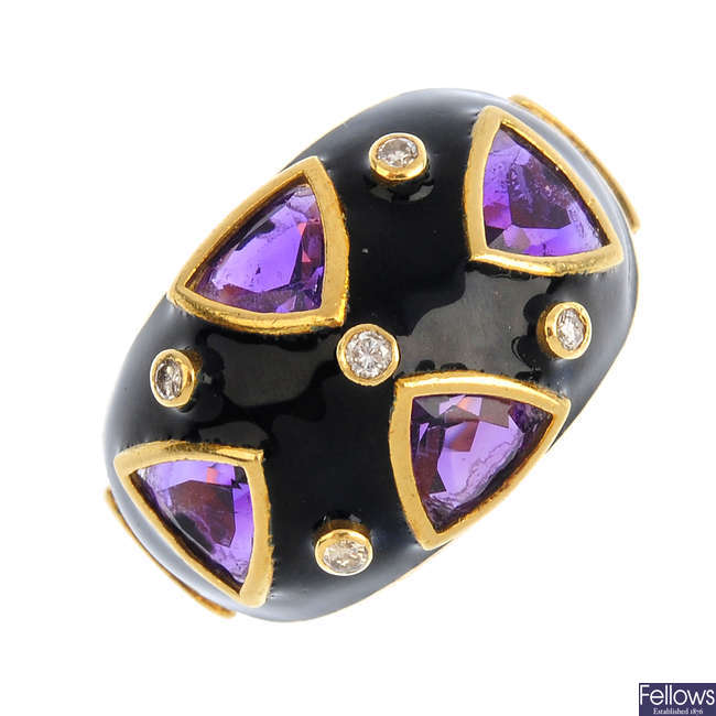 A 1980s 18ct gold diamond, amethyst and enamel ring.