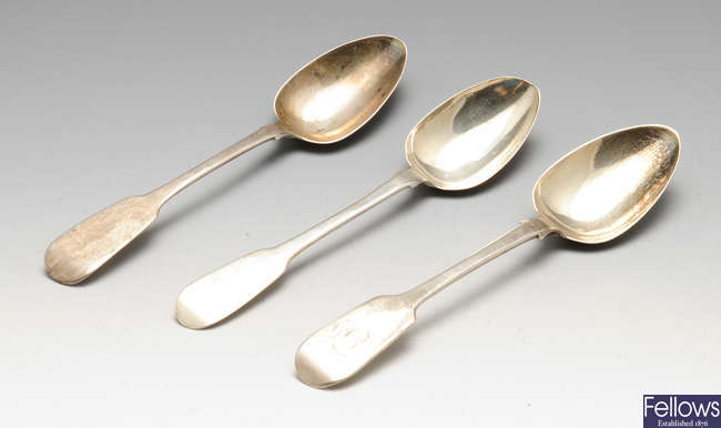Two George IV Irish silver teaspoons, a early Victorian Irish silver teaspoon, etc.