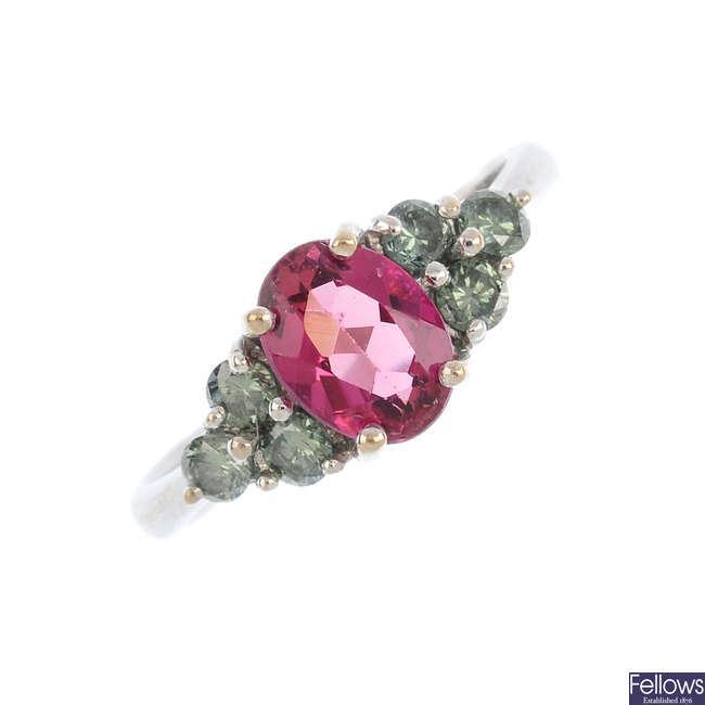 An 18ct gold, tourmaline and 'green' diamond dress ring.