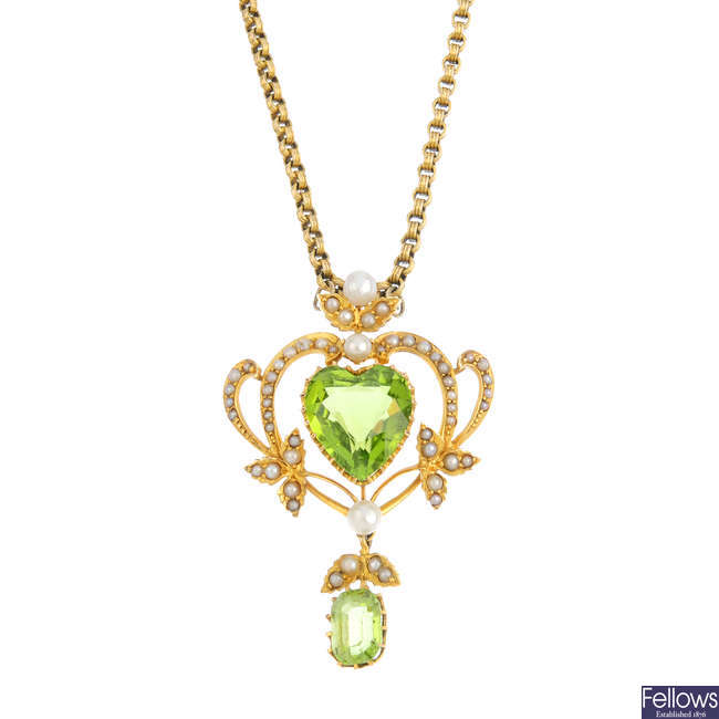 An Edwardian 15ct gold peridot and pearl pendant, with late Victorian 9ct gold longuard chain.