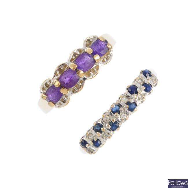Five 9ct gold gem-set and diamond dress rings.
