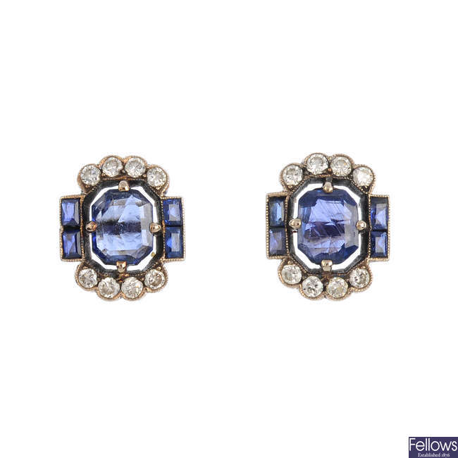 A pair of mid 20th century sapphire and diamond earrings.