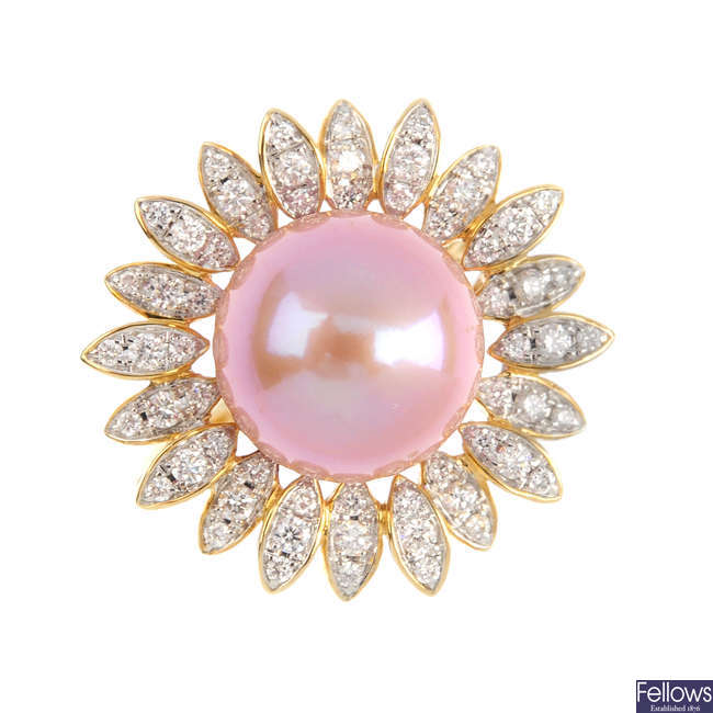 A 9ct gold cultured pearl and diamond cluster ring.