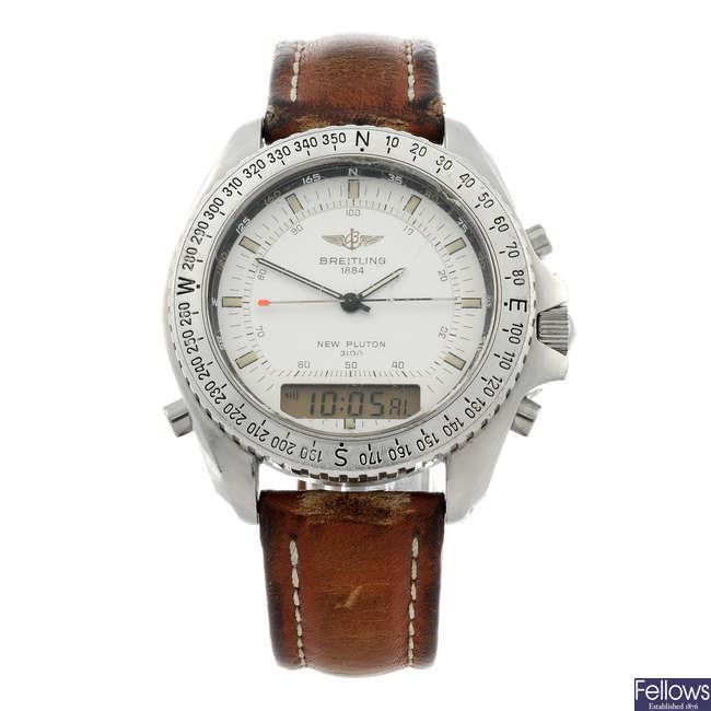 BREITLING - a gentleman's stainless steel New Pluton 3100 wrist watch.