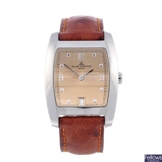 BAUME & MERCIER - a lady's stainless steal Hampton Tonneau wrist watch.